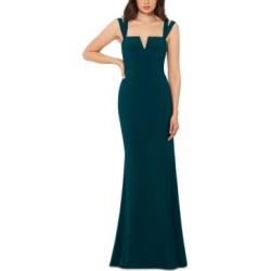 Xscape Notched Double-Strap Gown