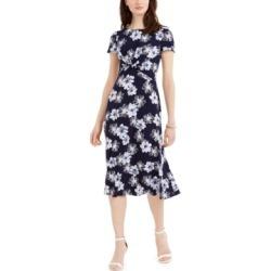 Jessica Howard Floral-Print Twist-Waist Dress