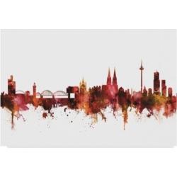 "Michael Tompsett Cologne Germany Skyline Red Canvas Art - 20"" x 25"""