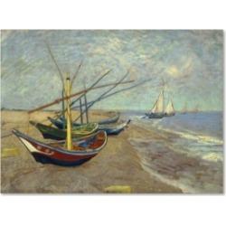 "Vincent van Gogh 'Fishing Boats on the Beach' Canvas Art - 19"" x 14"" x 2"""