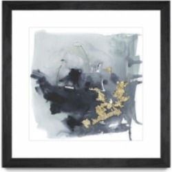 """Giant Art Cerulean and Gold I Matted and Framed Art Print, 36"""" x 36"""""""