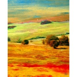 """Creative Gallery Tuscany Meadow Abstract Landscape 36"""" x 24"""" Canvas Wall Art Print"""