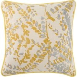 "Luli Sanchez By Jaipur Living Corrine Yellow/Silver Floral Down Throw Pillow 18"""