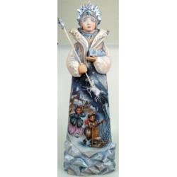 G.DeBrekht Woodcarved Snow Queen Santa Figurine