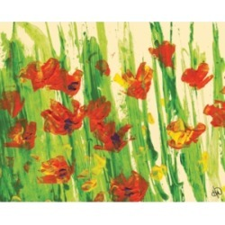 """Creative Gallery Red Yellow Field of Flowers Abstract 36"""" x 24"""" Canvas Wall Art Print"""