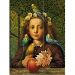 "Dan Craig Girl with Parakeets Canvas Art - 36.5"" x 48"""