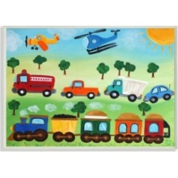 Stupell Industries The Kids Room Planes, Trains, and Automobiles Wall Plaque Art, 12.5