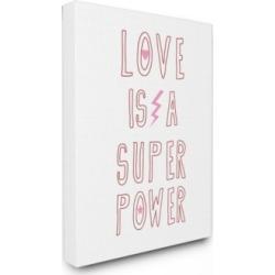 "Stupell Industries Love Is a Superpower Pink Lightning Star Heart Canvas Wall Art, 24"" x 30"""