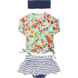 RuffleButts Little Girls Long Sleeve Rash Guard 2-Piece Skirted Swimsuit Swim Headband Set found on Bargain Bro India from Macys CA for $51.42