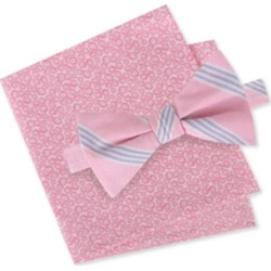 Tommy Hilfiger Men's Julio Pre-Tied Stripe Bow Tie & Floral Pocket Square Set