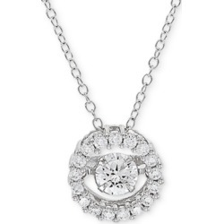 "Arabella Cubic Zirconia Halo 18"" Pendant Necklace in Sterling Silver, Created for Macy's"