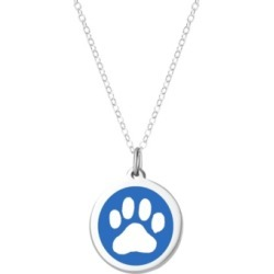 "Auburn Jewelry Paw Print Pendant Necklace in Sterling Silver and Enamel, 16"" + 2"" Extender"
