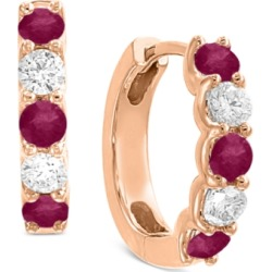 Effy Certified Ruby (3/4 ct. t.w.) & Diamond (3/8 ct. t.w.) Hoop Earrings in 14k Rose Gold found on Bargain Bro India from Macy's Australia for $789.77