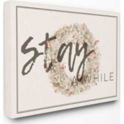 "Stupell Industries Stay A While Strawflower Wreath Canvas Wall Art, 30"" x 40"""