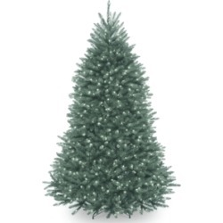 National Tree 7' Dunhill Blue Fir Hinged Tree with Clear Lights