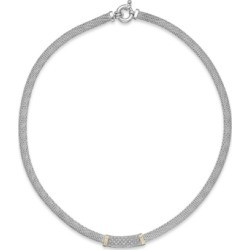 Diamond Mesh Collar Necklace in 14k Gold and Sterling Silver (1/4 ct. t.w.) found on Bargain Bro India from Macy's for $390.00