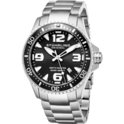 Stuhrling Men's Swiss Quartz Diver Watch, Stainless Steel Case, Blue Dial with Highly Luminescent Hands and Markers, Blue 120 Click Unidirectional Rotating Bezel, Solid Stainless Steel Bracelet found on Bargain Bro India from Macy's Australia for $145.55