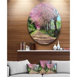 "Designart 'Cherry Blossom Pathway In Chiang Mai' Landscape Metal Circle Wall Art - 38"" x 38"""