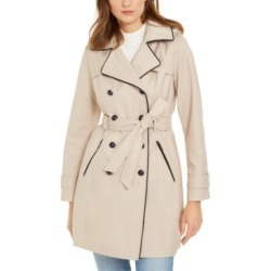 Guess Hooded Faux-Leather-Trim Water-Resistant Double-Breasted Trench Coat found on MODAPINS from Macy's for USD $200.00