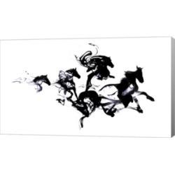 """Metaverse Black Horses by Robert Farkas Canvas Art, 27"""" x 16"""""""