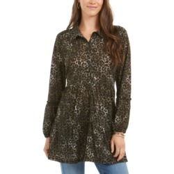 Style & Co Printed Empire-Waist Tiered Blouse, Created for Macy's