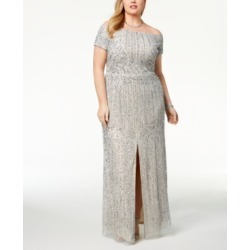 Adrianna Papell Plus Size Embellished Off-The-Shoulder Gown found on Bargain Bro India from Macys CA for $397.16