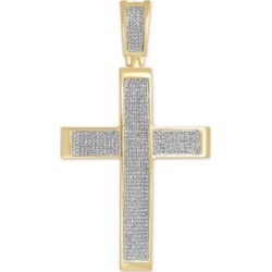 Diamond Pave Cross Pendant (1 ct. t.w.) in 14k Gold-Plated Sterling Silver
