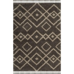 Safavieh Moroccan Fringe Shag Gray and Cream 4' X 6' Area Rug found on Bargain Bro from Macy's for USD $291.84
