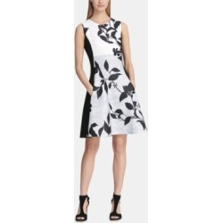 Dkny Colorblocked Floral Fit & Flare Dress found on MODAPINS from Macy's for USD $69.99