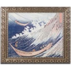 "Katsushika Hokusai 'Two Small Fishing Boats' Ornate Framed Art - 16"" x 20"""