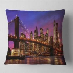 "Designart Brooklyn Bridge And Manhattan At Sunset Throw Pillow - 26"" X 26"""