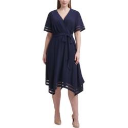 Jessica Howard Plus Size Illusion-Striped Faux-Wrap Dress found on Bargain Bro from Macy's Australia for USD $87.35