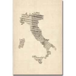 "Michael Tompsett 'Italy - Old Sheet Music Map' Canvas Art - 24"" x 16"""