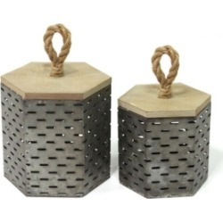 Stratton Home Decor Metal Decorative Containers Set of 2
