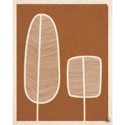 """Creative Gallery Retro Feather Trees in Light Brown 36"""" x 24"""" Canvas Wall Art Print"""