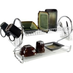 """MegaChef 16"""" Two Shelf Dish Rack with Easily Removable Draining Tray, 6 Cup Hangers and Removable Utensil Holder"""