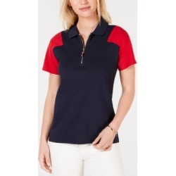 Tommy Hilfiger Short-Sleeve Colorblocked Zip-Up Polo Shirt found on MODAPINS from Macy's for USD $34.99