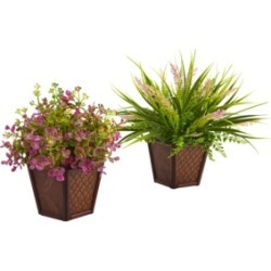 Nearly Natural Assorted Grass Set w/ Decorative Planters, Set of 2