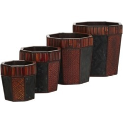 Nearly Natural Bamboo Octagon Decorative Planters - Set of 4 found on Bargain Bro Philippines from Macy's for $200.00