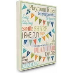 """Stupell Industries Home Decor Playroom Rules with Pennants In Blue Canvas Wall Art, 24"""" x 30"""""""