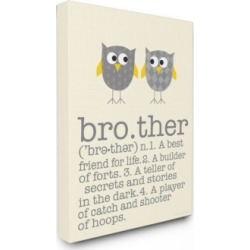 "Stupell Industries Home Decor Definition Of Brother with Two Gray Owls Canvas Wall Art, 16"" x 20"""