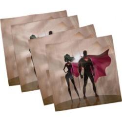 Ambesonne Superhero Set of 4 Napkins, 18