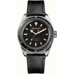 Scovill Automatic with Stainless Steel Case, Black Dial and Black Leather Strap