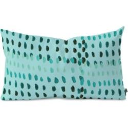 Deny Designs Morgan Kendall Aqua Dashes Oblong Throw Pillow