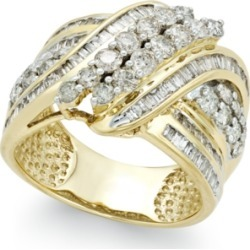 Diamond Double-Row Center Ring (2 ct. t.w.) in 14k Gold (Also available in White Gold)