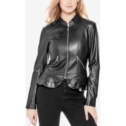 Guess Kate Faux-Leather Peplum Jacket found on MODAPINS from Macy's for USD $96.00