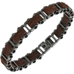 Sutton Stainless Steel Gunmetal And Brown Leather Link Bracelet found on Bargain Bro India from Macy's Australia for $105.84