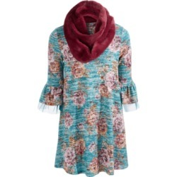 Beautees Big Girls 2-Pc. Printed Bell-Sleeve Dress & Faux-Fur Scarf Set found on Bargain Bro Philippines from Macys CA for $42.44