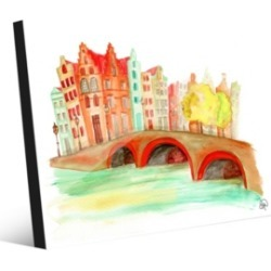 """Creative Gallery Bridge Over The Canal in Orange Abstract 24"""" x 36"""" Acrylic Wall Art Print"""