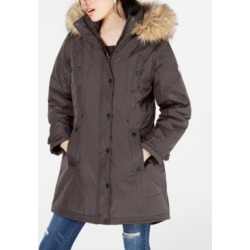 Madden Girl Juniors' Hooded Faux-Fur-Trim Parka found on MODAPINS from Macy's for USD $35.76